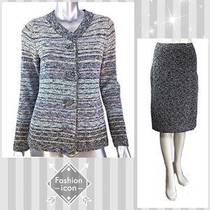 Pendleton Knit Gray Skirt Suit Size Medium